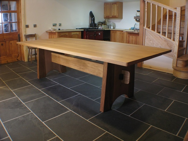 Oak dining table seats 12 ,  4 x 9 ft.
